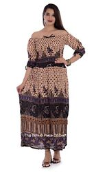 Women Block Print Rayon Paisley Elastic Sleeves Gown Party Wear Long Dress Tops $22.99