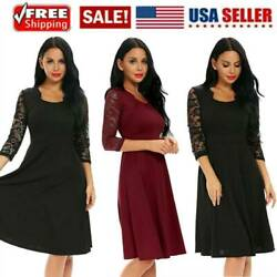 Women Square Neck Floral Lace 2 3 Sleeve Cocktail Swing Long Dress Solid wR $9.24