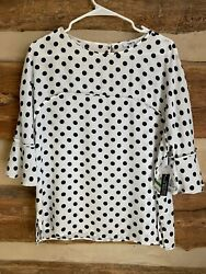 Bar III Trendy Plus Size Polka Dot Ruffle Sleeve Top MSRP $79 Size Large $15.00