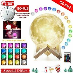 3D PritIng Magical LED Moon Night Light Moon Lamp Desk Remote  Touch Sensor USA $9.99
