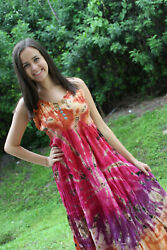 Boho Gypsy Hippy Tie Dye Pink Loose Dress Rayon Summer Beach Cover Up Dresses SM $28.67