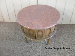 49958 Round Marble Top Modern Lamp Drum Table Stand $195.00