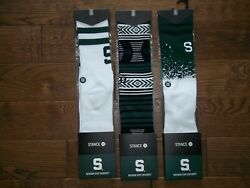 STANCE 3 Pair MICHIGAN STATE UNIVERSTY Spartans MSU Crew SOCKS Mens LARGE 9 12 $39.59