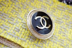 🖤 CHANEL BUTTONS  brooch lot 4 pieces 1 inch 26 mm  black & gold Metal XL $57.00