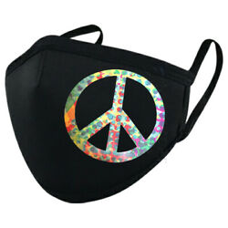 Wear Your Mask! Multicolored Peace Sign Be a Hippie Black Mask   $10.00