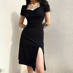 Women Sexy Gothic Dress Square Collar Short Sleeves Punk Clubweat Skirt
