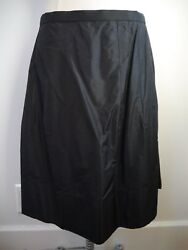 CHANEL black silk taffeta full skirt Euro size 42