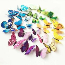 12 24Pcs 3D Colorful Butterfly Wall Stickers Art Decal Room Decoration DIY Decor $6.19