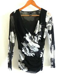 INC International Concepts Mesh Top Long Sleeve Floral Deep V-Neck Ruched Sides