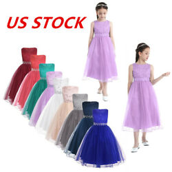 US Kids Flower Girls Dress Party Wedding Pageant Bridesmaid Princess Formal Maxi $22.35