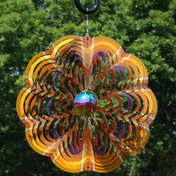 Sunnydaze Hanging Gold Dust 3D Whirligig Outdoor Wind Spinner with Hook - 12
