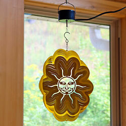 Sunnydaze Gold Sun Whirligig Wind Spinner with Electric Operated Motor - 12-Inch