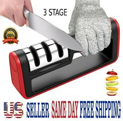 KNIFE SHARPENER PROFESSIONAL CHEF SYSTEM Ceramic Tungsten Diamond 3 Stage Tool $7.69