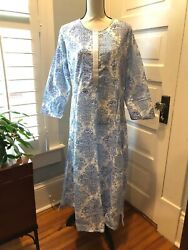 The Company Store NWT Long Cover Up Lounger Sleepwear Blue White 100% Cotton $49.95