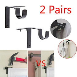 2 X Single Hang Curtain Rod Holders Double Center Support Window Rod Bracket Set $10.99
