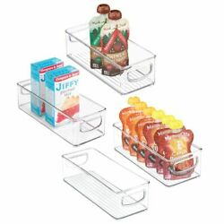 mDesign Plastic Kitchen Food Storage Bin with Handles 10quot; Long 4 Pack Clear $23.99