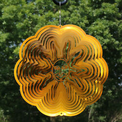 Sunnydaze 3D Reflective Gold Sun Whirligig Outdoor Wind Spinner with Hook - 12
