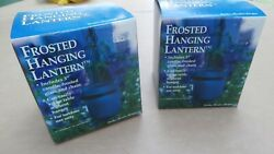 Frosted Hanging Candle Lanterns Pair $15.00
