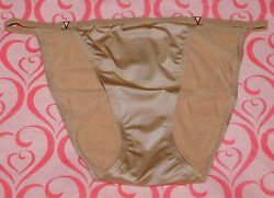 NEW Victoria's Secret Very Sexy String Bikini Panty Satin Solid Beige XL VS $13.50