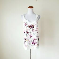 White House Black Market Embroidered Floral Ruffled V-neck Tank Top Layered Sz M $26.99
