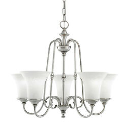 5 Light Northampton Chandelier Antique Pewter With White Textured Glass $432 $99.99