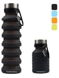 Collapsible Water Bottle Reuseable BPA Free Silicone Foldable Water Bottle Black $11.99