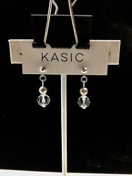 silver 9.25 earring ball post 4mm with swarovski parts crystal 8mm pearl 5mm $8.99