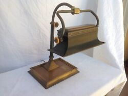 Vintage Rare Chapman brass bankers desk lamp with hand $325.00