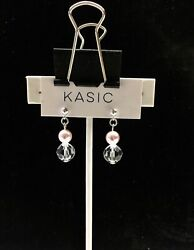 silver 9.25 earring ball post 4mm with swarovski parts crystal 10 mm pearl 5mm $8.99