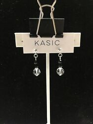 silver 9.25 earring ball post 4mm with swarovski parts crystal 8 mm black ston $8.99