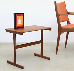 1960s Vintage Danish Modern TEAK SLED Side End Table Mid Century $128.50
