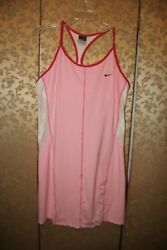 Nike RARE Maria Sharapova Pink White Multi-Color Mesh Tennis Dress Large L $69.99