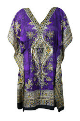 Boho Chic Purple Printed Dress Cruise Caftan Loose Beach Cover up Dresses 3XL $16.84