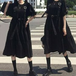 Sweet Girl Gothic Dress Black Lolita Japanese Buckle Strap Punk Puff Sleeve