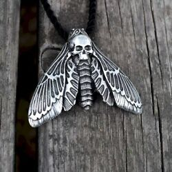 Black Moth Skull Necklace Metal Punk Stainless Steel Gothic Demon Satan