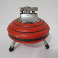 Vintage 1950's Mid Century Modern Orange Table Spaceship Lighter Japan $19.99