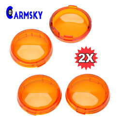 2x Turn Signal Light Amber Lens Cover For Harley Touring Road King Glide Yellow $5.69