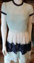Foxiedox Amelia Sky Color Block Blue Lace Open Back Fit amp; Flare Dress NWT Sz L $25.00