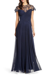 TADASHI SHOJI ILLUSIONS NECK LACE MESH NAVY GOWN DRESS XS= 2