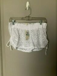 Miken Women#x27;s White Lace Cover Up Shorts Size Medium NWT $14.24