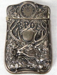 Antique BPOE Elks Club Sterling Match Safe Vesta Case Repousse 18.3 Grams 2.5 $59.00