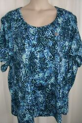 Catherine#x27;s Plus 5X 34 36W Shades of Blues amp; White STRETCHY Top Tunic NWT $18.99