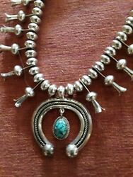 Vintage Navajo Native American Natural Turquoise 925 Squash Blossom Necklace