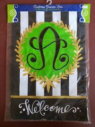 """Embroidered Monogram quot;A"""" Welcome Garden Flag Custom Decor Double Sided 12quot;x18quot; $9.95"""