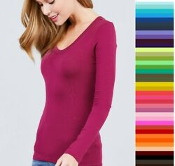 Womens T Shirt Scoop Long Sleeve Active Basic Stretch Light Weight Top T9666 $9.95
