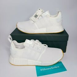NIB Adidas Men's SIZE 9.5 NMD R1 Cloud White Gum Boost Running Shoes D96635 NEW $109.00