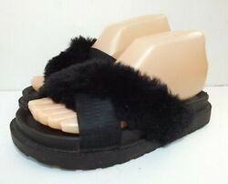Sam Edelman Bianca Black Faux Fur Platform Sandals Comfort Slides Womens Size 6 $19.99