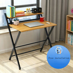 Wood Folding Computer Desk Table Laptop PC Writing Study Workstation Office $69.99