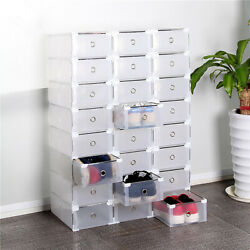10 Pack Plastic Stackable Shoe Storage Organizer Clear Drawer Box Metal Frame $23.70