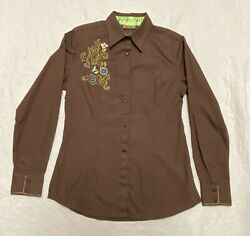 Wrangler Womens Small Western Shirt Brown Pearl Snap Embroidered Long Sleeve $17.00